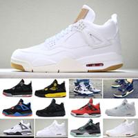 espigas de fútbol sala al por mayor-Nike Air Jordan 4 Retro Venta al por mayor 2019 nuevos 4 4s hombres zapatos de baloncesto Toro Bravo Cactus Jack 2012 Lanzamiento Cemento blanco deporte zapatillas de deporte 40-47