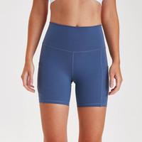 Wholesale womens tight yoga pants resale online - Womens Yoga Shorts High Waist Gym Fitness Training Tights Sport Short Pants Fashion Quick drying solid yoga shorts L