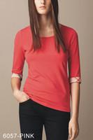 hemd plaid manschetten groihandel-Neue Designer-T-Shirts für Damen Manschette mit Karomuster Designer-Marken-T-Shirts mit dreiviertel Ärmeln Frauen-T-Shirts mit Rüschen