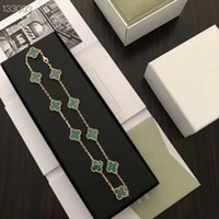 Wholesale turquoise pendant jewelry resale online - Vintage Alhambra Brand Designer S925 Sterling Silver Green Turquoise Four Leaf Clover Flower Charm Necklace For Women Jewelry