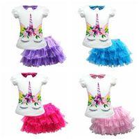 Wholesale cute baby girl clothes online - Kids Unicorn Two Pieces Set Short Sleeve T shirt Tutu Skirt Girls Baby Princess Dress Clothing Set sets OOA6335