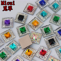 Micui 200pcs 10mm Double color Square Resin Rhinestone Crystal Stone beads flatback For DIY Wedding Decoration ZZ753