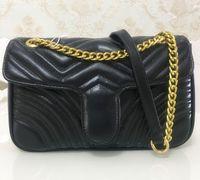 ingrosso borsa di coccodrillo genuina verde-Borse a tracolla delle donne di modo di vendita calde Sacchetto classico delle borse della borsa delle donne delle borse della borsa delle borse della catena dell'oro di Marmont del cuore di stile 26cm delle borse del messaggero