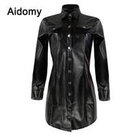 schwarzer blusenkragen großhandel-Casual Schwarz Leder Shirt Frauen Langarm Umlegekragen Einreiher Bluse Plus Size Kleidung Frauen Tops Büro Tragen