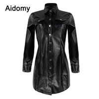 ofis bluzları yaka toptan satış-Casual Siyah Deri Gömlek Kadınlar Uzun Kollu Turn-Down Yaka Tek Göğüslü Bluz Artı Boyutu Giyim Kadın Ofis giyim Tops