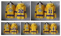 anze kopitar hoodies großhandel-2019 Los Angeles Kings 8 Drew Doughty 11 Anze Kopitar 32 Jonathan Schnell 23 Dustin Brown Old Time Eishockey Jersey Hoodie Sweatshirts