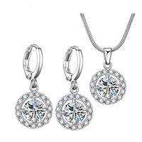 ensembles de bijoux en cristal dames achat en gros de-Bijoux en cristal de luxe minimaliste élégant ensemble créatif zircon collier boucles d'oreilles en deux pièces ensemble en gros bijoux 5-JS0027