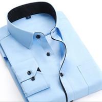 Wholesale mens double shirt dress resale online - Mens Dress Shirts New Style Male Long Sleeve Cotton Blend Business Shirt Solid Casual Mens Shirt Slim Fit Homme