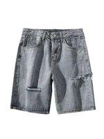 искусство гонконга оптовых-Hong Kong Art Man мужские джинсы с дырочками Корейские модные шорты Летние свободные пять брюк Tide красивый