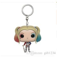 Wholesale Kidsparty Funko Pocket Pop Keychain Suicide squad clown Vinyl Figure Keyring Hot toy funko pop