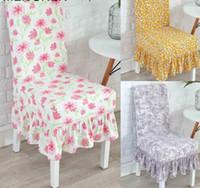 ingrosso rivestimenti per sedie-Coprispalle con stampa floreale arricciata Spandex per sala da pranzo da ufficio Banchetto elasticizzato Rivestimenti con rivestimento elastico MJ010