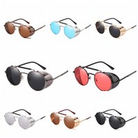 Wholesale steampunk eyeglass frames for sale - Group buy Retro Steampunk Sunglasses Personality Windshield Frame Round Eyeglasses Fashion new Metal Frame Cycling Cycling Travel Shades LJJT1016