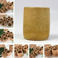 boisson en bambou achat en gros de-Tasse à thé en bambou naturel fait à la main style japonais tasses de lait de bière avec poignée verte artisanat de Voyage de Voyage artisanat Drinkware tasses T2I230