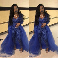 Wholesale one strap backless prom dress resale online - Royal Blue Jumpsuit Prom Dresses With Overskirts V Neck Long Sleeve Sequined Evening Gowns Plus Size African Pageant Pants Party Wear BC1134