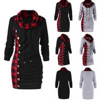 seksi kış hoodies toptan satış-Kadınlar Ekose Turtleneck Patchwork Hoodie Sonbahar Kış Tişörtü BODYCON Seksi Düğmeler Ladie Hoodie Lace Up Kazak LJJO7461-1 Tops