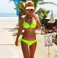 neonfarben badeanzüge großhandel-Sommer Mode Heißer verkauf Sexy Neon einfarbig Bikini set Split Stahl Weibliche bowknot bh Badebekleidung Push Up Badeanzug Hot Springs badeanzug