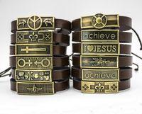 crosses bracelets al por mayor-Pulsera cruzada de imitación de la aleación del encanto de la moda para el hombre Amo a Jesús Pulsera de cuero para los hombres Diseñador retro de la marca Pulsera del cráneo para las mujeres