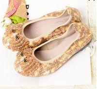 zapatos plegables mujeres al por mayor-Pisos de las mujeres zapatos de ballet plegables Sexy perla abalorios clásico lindo simple partido de las señoras Rhinestone de la danza plegable embarazadas zapatos