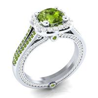 изумруд кольцо 925 серебряный размер оптовых-Роскошный стерлингового серебра 925 природных драгоценных камней Изумруд бриллиантовое кольцо женская годовщина свадьбы обручальное кольцо размер 5-12