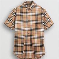 markalı çift gömlek toptan satış-Erkek Kadın Yaz Gömlek 2019 Patlama Tasarımcı Ekose Gömlek Çift Yeni Marka Kısa Kollu Rahat Gömlek Boyutu M-XXL Toptan