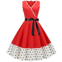 Wholesale casual pin up resale online - Women Retro Vintage Dress Polka Dot Printed Swing Pin Up Party Dresses Elegant Tunic Vestidos Casual Sleeveless A Line Dress