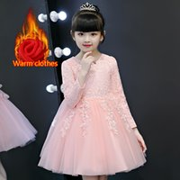 Wholesale long sleeved wedding dresses organza resale online - 2019 winter thermal long sleeved knee length Flower girl dresses with applique lace girl takes part in communion dress for the first time
