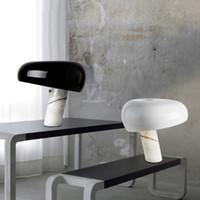 cogumelo lâmpada de mesa branco venda por atacado-Mármore italiano abajur Mushroom Branco Black Hat Mesa de Luz Modern Luxury Hotel Quarto Eye Study Quarto Home Lighting 90-260V