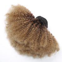 медовый каштановый переплетение волос оптовых-Ombre Afro Кудрявые вьющиеся волосы Бразильские плетения из человеческих волос 3 пучка T1b 4 27 Темно-коричневый коричневый медовый блондин с двойным уток