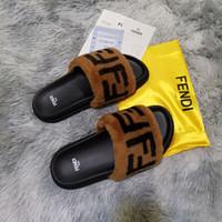 ingrosso stivali di pelliccia-Donne Furry Pantofole Fluff lettera Designer casual Scarpe Stivali Fashion Luxury Designer uomo Sandali Pellicce diapositive Pantofole