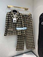 брюки для девочек оптовых-Женские Luxury Design Vintage полушерстяные пальто куртки Blazer + Long Pnats брюк High End Girls Runway Повседневный Хаундстут Outwear Tops Set