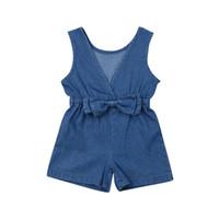 ingrosso tuta di tuta blu profonda-New Summer Infant Toddler Bambino Kids Girls Denim Pagliaccetto Deep Blue Bow Tuta Tute Abiti Abbigliamento Abbigliamento per bambini
