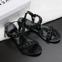 новые пластиковые сандалии оптовых-Горячая распродажа - новые пластиковые цепи пляжная обувь конфеты цвета желе сандалии цепи с плоским дном сандалии Европы и США