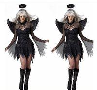 ingrosso costume sexy dell'angelo delle donne-Costume di Halloween per le donne Sexy Dark Angel Costume Vampire Bride Demons Costume Halloween Party Cosplay Dress