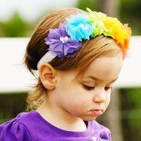 banda de flores de malla al por mayor-Baby Mesh Hair Band Baby Girl Rainbow Banda elástica Infantil Cabeza colorida Flor Cabello Aro 32