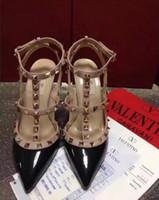 ingrosso tacchi alti bianchi rosa donna-donne scarpe tacchi alti scarpe da festa moda rivetti ragazze sexy scarpe a punta scarpe fibbia piattaforma pompe scarpe da sposa nero bianco colore rosa