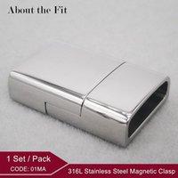 ingrosso chiusure in collana-4mmx13.5mm Connettori in acciaio inossidabile 316L Fibbie con estremità con catenaccio Bracciale in metallo con chiusura a scatto Chiusura