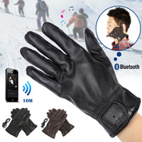 слушать телефон оптовых-Bluetooth PU Warm Gloves Leather Glove Winter For Mobile Phone For Pad Answer Phone Listen To Music