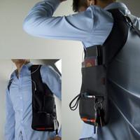 koltukaltı çantaları toptan satış-Erkekler Anti-Hırsızlık Çanta Gizli Koltukaltı Omuz Saklama Çantası Telefon Anahtar Kılıf Siyah Naylon Taktik Müfettiş Ajan Organizatör