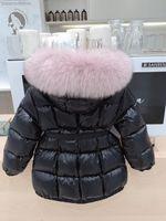 abrigo de invierno largo de las niñas al por mayor-La niña de invierno larga chaqueta de la capa larga gruesa Traje para la nieve acolchado de Down invierno de las muchachas de zorro grande capucha de piel Ropa