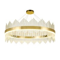 iluminación colgante contemporánea al por mayor-Araña de cristal redonda contemporánea, luz dorada, lámparas colgantes de lujo, iluminación, sala de estar, dormitorio, led, lámparas colgantes