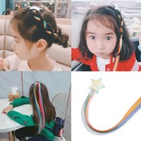 Wholesale girl child wig resale online - Oaoleer Hair Accessories Inch Rainbow Pigtail Barrettes for Girls Glitter Star Hairgrips with Colorful Wigs for Children Girls
