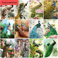 Wholesale peacock home decor canvas art for sale - Group buy Oil Painting By Number Peacock Animals Drawing Canvas Acrylic Coloring By Number Wall Art Handpainted Gift Home Decor Draw On Canvas