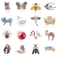 enamel animal brooches 2021 - fashion cartoon enamel animal brooches for women bird insect butterfly cat crystal brooch pins costume jewelry