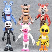 çocuklar gece için oyuncak toptan satış-6 adet / grup Freddy At 'ın 10 cm Beş Nights At Pvc Action Figure Oyuncak Fnaf Bonnie Foxy Chica Freddy Bebek Oyuncakları Çocuklar Için Tilki ...