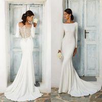 Wholesale silk back wedding dress resale online - 2020 Simple Long Sleeve Mermaid Wedding Dresses Lace Appliqued Sheer Back Covered Button Bridal Gowns Beach Vestido de Novia