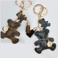 Wholesale crystal bear keychain resale online - Classic Bear Leather Keychain Stripe PU Keyrings Luxury Famous Design Keychains Bag Car Buckles Fashion Accessories Gifts