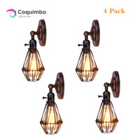 Wholesale cage light edison bulb resale online - 4 Pack Industrial Edison Vintage Wall Light Mounted Wrought Chandelier Iron Rustic Wire Cage Hanging Wall Light