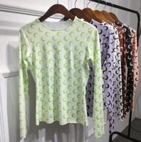 frauen langarmhemd muster großhandel-American Crescent Pattern Slim Stretch T-Shirt Mode Langarm T-Shirt Frauen Frühling Herbst Neue Sexy Rundhalsausschnitt Abnehmen Shirt