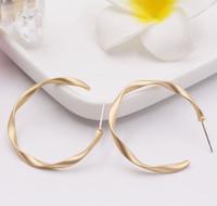 bijoux en or achat en gros de-S925 argent aiguille oreille bague en argent broche dumb everbright or rétro torsion géométrique boucles d'oreilles bijoux mats