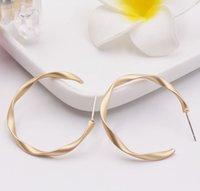Wholesale copper pin earrings online - S925 silver needle c ear ring Silver pin dumb everbright gold retro geometric twist matte jewelry earrings